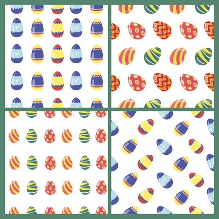 cartoon egg: Happy Easter Seamless Patterns Set with Colorful Eggs. Vector background