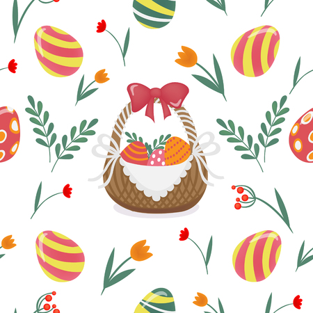 cartoon easter basket: Happy Easter Seamless Pattern with Easter Eggs and Flowers. Vector background Illustration