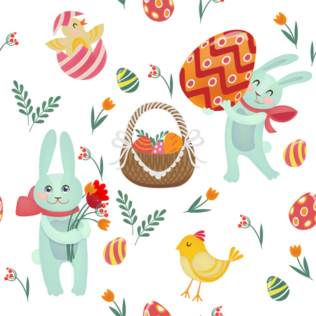 cartoon easter basket: Happy Easter Seamless Pattern with Bunnies, Chicks, Eggs and Flowers. Vector background