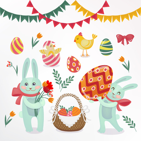 love symbols: Happy Easter Set of Elements - Rabbits, Eggs, Chicks, Flowers and Garlands. Vector illustration