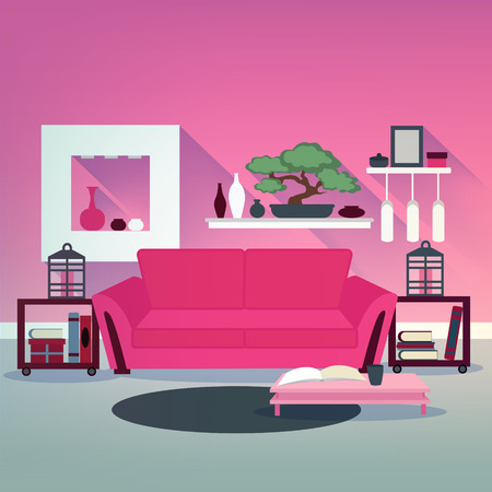 family sofa: Modern Living Room Interior in Asian Style with Bonsai, Sofa and Books. Vector illustration
