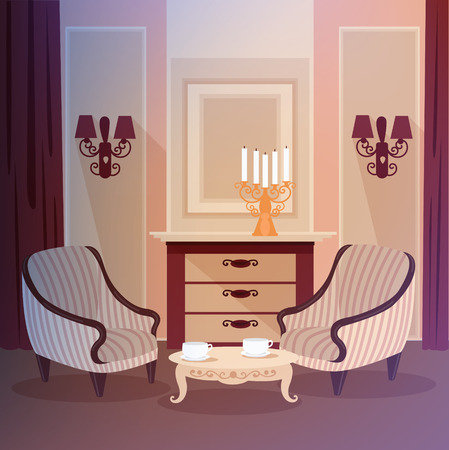 Classic Home Interior of Living Room with a Candlestick and Vintage Furniture. Home Sweet Home. Vector illustration in flat style