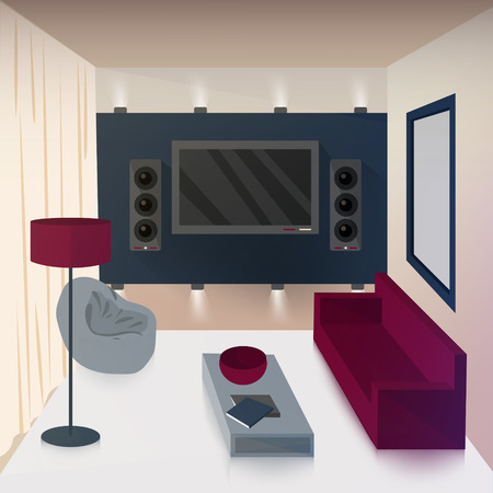 violet residential: Modern Interior of Living Room with TV and Hi-Fi Technologies. Vector illustration Illustration