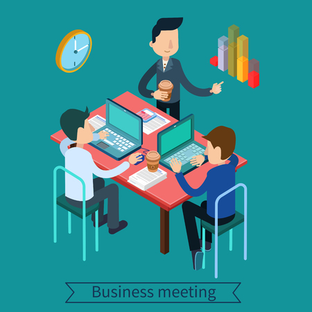 teamworking: Business Meeting and Teamworking Isometric Concept. Office Workers with Laptops and Documents. Vector illustration Illustration