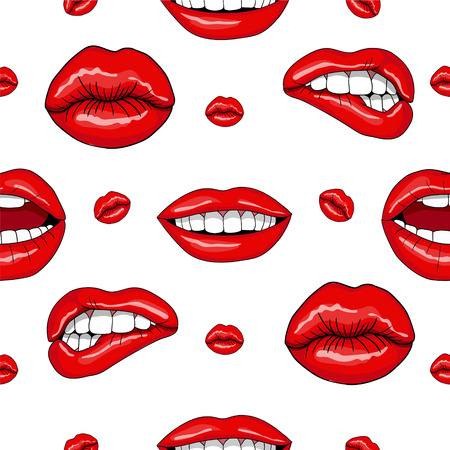 Lips Seamless Pattern in Retro Pop Art Style. Vector illustration