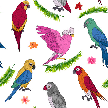 lovebird: Tropical Holidays Seamless Pattern with Exotic Parrots and Flowers. Vector background