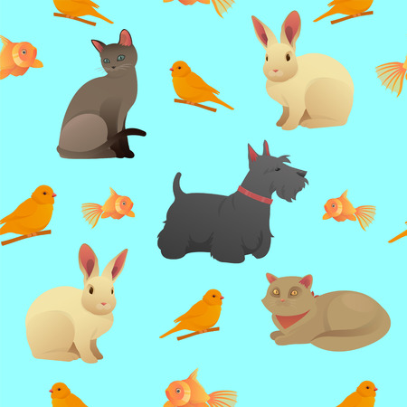 little dog: Seamless Pattern with Home Pets
