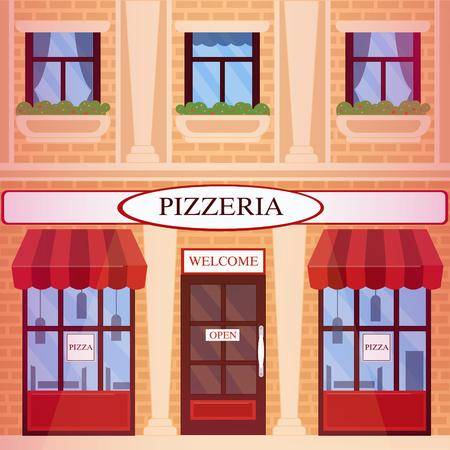 italian tradition: Pizzeria Restaurant Building in flat style. Vector illustration Illustration