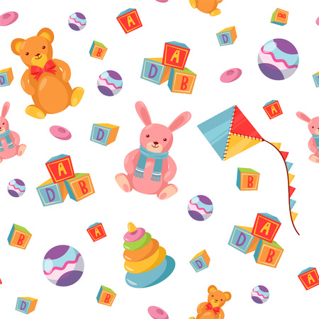 girl happy: Seamless Pattern with Children Toys. Vector background