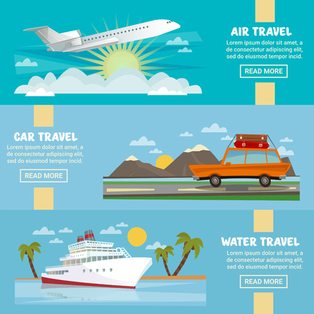 sun road: Horizontal Travel Banners Set with Airplane, Car and Ship. Vector illustration
