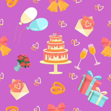 couple background: Wedding Seamless Pattern with Rings, Cake and Bells. Vector background