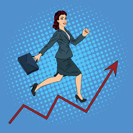 vintage style: Success in Business. Pop Art Businesswoman Climbing Up the Career Ladder.