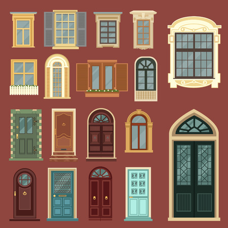 old building facade: Architectural Set of European Vintage Doors and Windows.