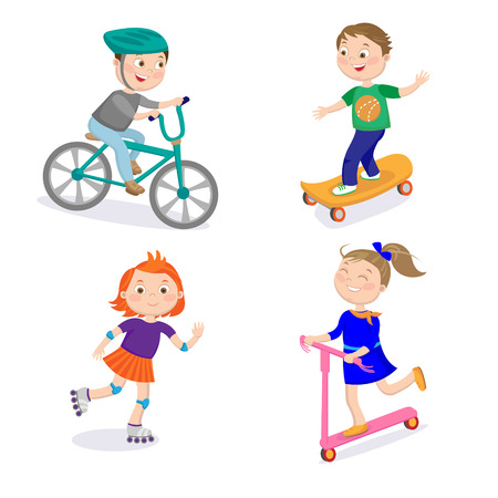 rollers: Kids Sports Characters. Cycle Racing, Skateboarding, Riding on Rollers and Scooter.