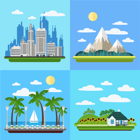 megapolis: Set of Landscapes - Megapolis, Mountains, Seaside Promenade and Village. Illustration