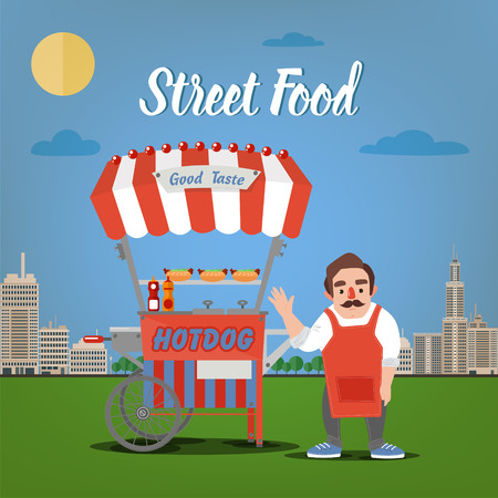 megapolis: Street Food Concept with Burger Food Truck and Seller in the Megapolis.
