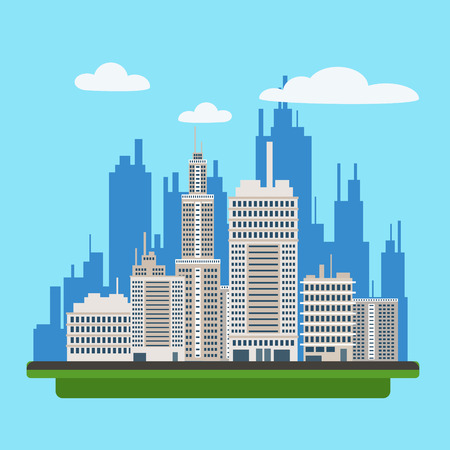 megapolis: Megapolis Landscape with Modern Buildings of Big City. Illustration