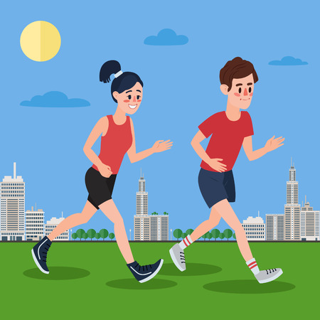 megapolis: Man and Woman Running in the Megapolis.