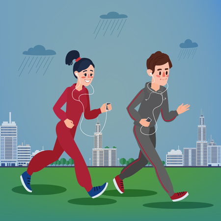megapolis: Man and Woman with Headphones Running in the Megapolis under Rain.