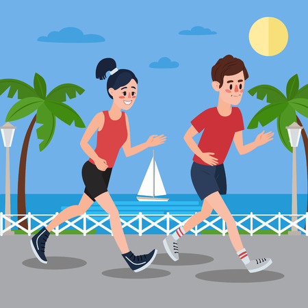 promenade: Man and Woman Running on the Seaside Promenade. Illustration