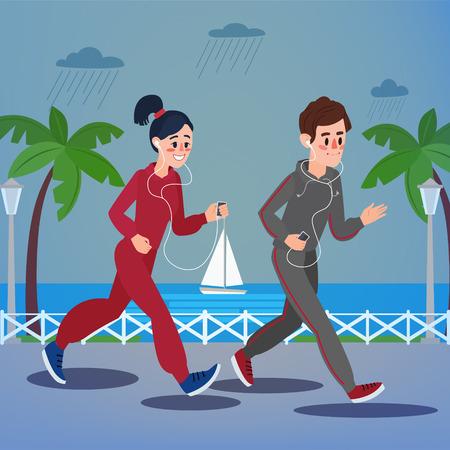 promenade: Man and Woman with Headphones Running on the Seaside Promenade under Rain.