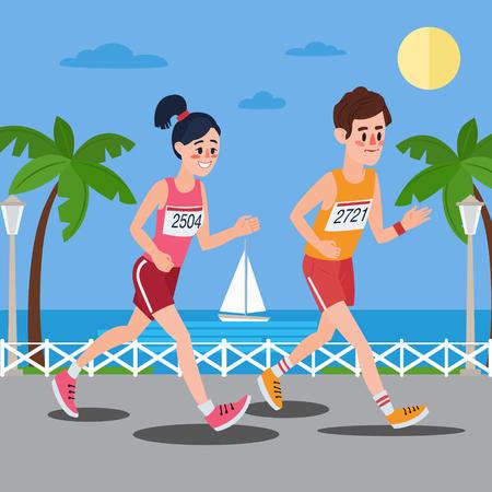 promenade: Marathon Runners. Man and Woman Running on the Seaside Promenade. Illustration