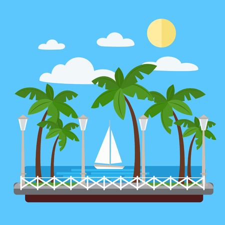 promenade: Seaside Promenade with Palm Trees and Yacht. Illustration