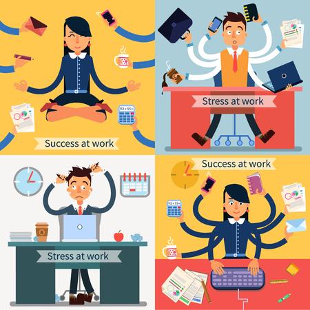 Succes en stress op het werk set van banners. Man en Vrouw bij Multitasking Work.