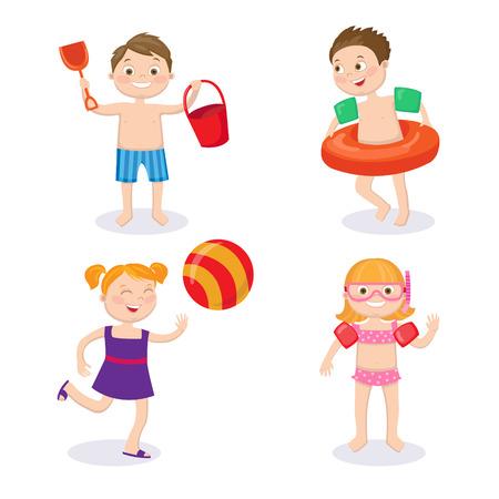 traje de bano: Concepto de vacaciones de verano. Ni�os felices que desgastan los trajes de ba�o que se divierten. Vectores