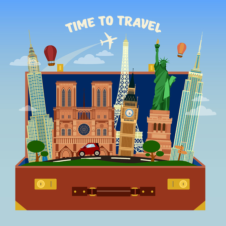 famous places: Time To Travel Banner. Suitcase Full of World Famous Places with Airplane in the Sky.