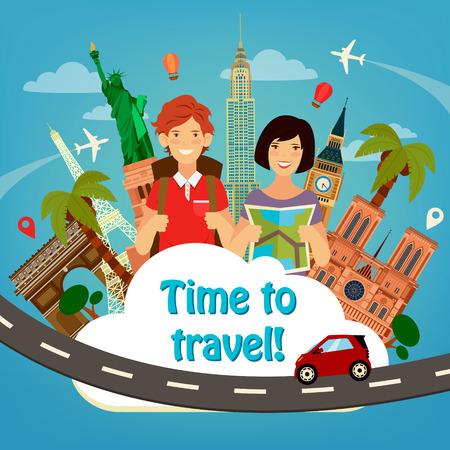 Chodźmy Travel. Travel Banner. Branży turystycznej. Znanych budynków świata. Czas podróży. Architektura historyczna. Szczęśliwy turystyczny. Człowiek z plecakiem. Dziewczyna z mapą. ilustracji wektorowych. Płaski stylu