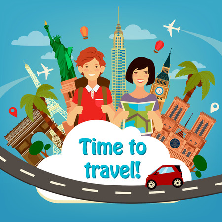 Lets Go Travel. Travel Banner. Travel Industry. Famous World Buildings. Time to Travel. Historical Architecture. Happy Tourist. Man with Backpack. Girl with Map. Vector illustration. Flat style Illustration