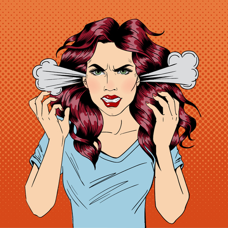negative: Angry Woman. Furious Girl. Negative Emotions. Bad Days. Bad Mood. Stressful Woman. Comic Background. Pop Art Banner. Vector illustration