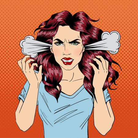 La mujer enojada. Chica furiosa. Emociones negativas. Días malos. Mal humor. Mujer estresante. Antecedentes de historietas. Arte pop de la bandera. ilustración vectorial Foto de archivo - 54266298