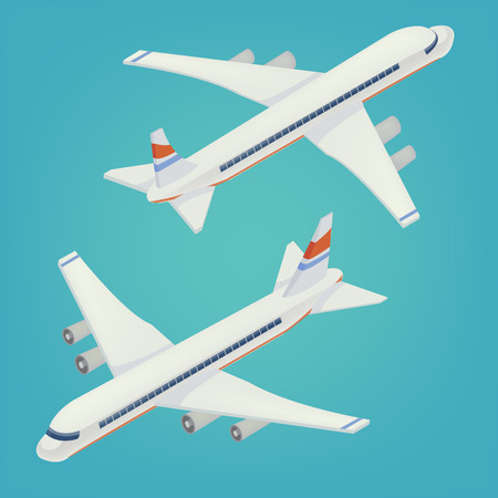 airliner: Passenger Airplane. Passenger Airliner. Airplane freight. Isometric Concept. Transportation Mode. Aircraft Vehicle. Vector illustration