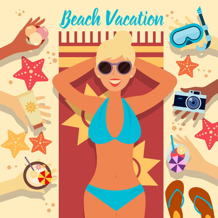 sunbath: Beach Vacation. Summer Time. Tropical Holidays. Woman on the Beach. Girl Taking a Sunbath. Travel Banner. All Inclusive. Sea Resort. Vector illustration