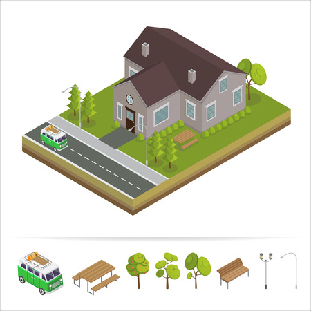 residences: Modern House. Modern Home. Isometric Concept. Real Estate. Cottage. Isometric House. Computer Icon. Modern Scandinavian Style. Vector illustration Illustration