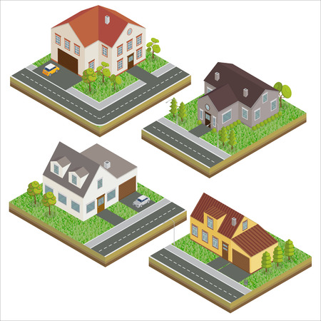 garage on house: Modern Houses. Modern Home. Isometric Concept. Real Estate. Cottage. Isometric House. Computer Icon. Modern Scandinavian Style. Vector illustration Illustration