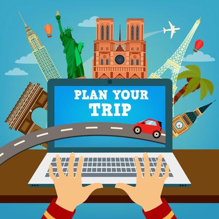 Planificar su viaje. Banner del viaje. Tiempo de Viajar. Planificación de las vacaciones. Industria de viajes. Tecnologías de viajes modernos. Reservar hotel. ilustración vectorial