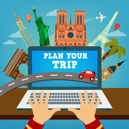 Plan your Trip. Travel Banner. Time to Travel. Vacation Planning. Travel Industry. Modern Travel Technologies. Booking Hotel. Vector illustration Illustration