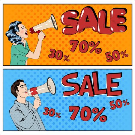 販売バナー。販売看板。メガホンを持つ女性。メガホンを持つ男。グレートを提供。季節限定販売。偉大な割引となります。大特売。最良の取引。  イラスト・ベクター素材