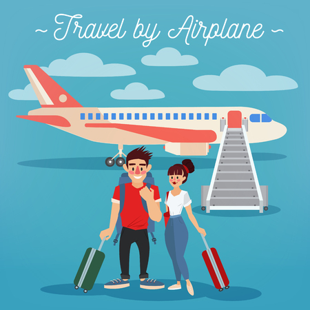 airplane: Airplane Travel. Travel Banner. Tourism Industry. Active People. Girl with Baggage. Man with Baggage. Happy Couple. Vector illustration. Flat Style