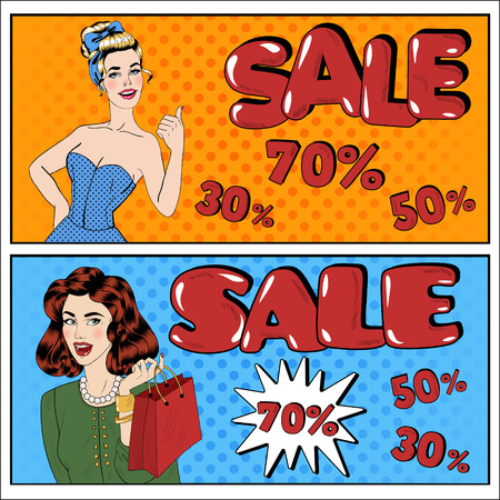 Sale Banner. Sale Billboard. Woman with Megaphone. Man with Megaphone. Great Offer. Seasonal Sale. Great Discount. Big Sale. Best Deal. Holiday Discounts. Pop Art Banner. Vector illustration