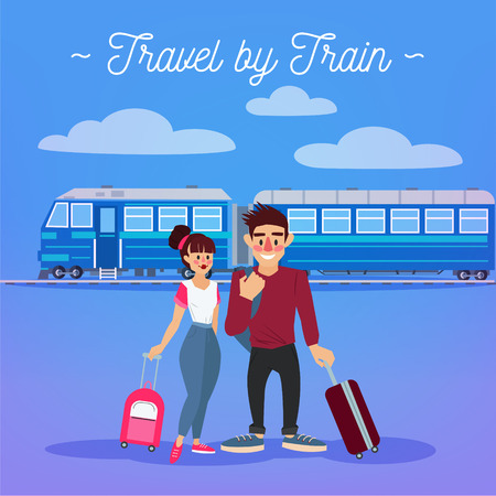baggage train: Train Travel. Travel Banner. Tourism Industry. Active People. Girl with Baggage. Man with Baggage. Happy Couple. Vector illustration. Flat Style Illustration