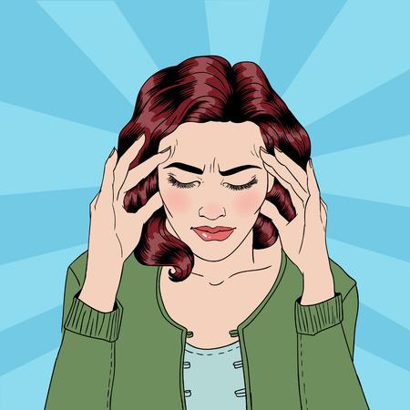 De vrouw heeft een hoofdpijn. Vrouw Stress. Stress at Home. Stress op het werk. Uitgeput Vrouw. Vrouw in depressie. Pijnlijke gevoel. Pop Art Banner. Vector illustratie. Grappige stijl