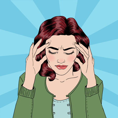 woman headache: Woman has a Headache. Woman Stress. Stress at Home. Stress at Work. Exhausted Woman. Woman in depression. Painful Feeling. Pop Art Banner. Vector illustration. Comic style
