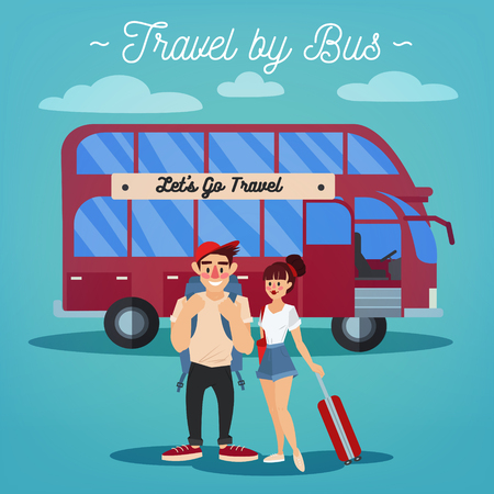 tourism industry: Bus Travel. Travel Banner. Tourism Industry. Active People. Girl with Baggage. Bus Tour. Man with Baggage. Happy Couple. Vector illustration. Flat Style
