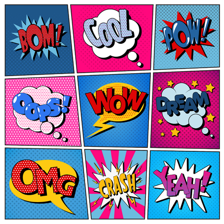 Comic Bubbles Set. Expressions Bom, Cool, Pow, Oops, Wow, Dream, Omg, Crash, Yeah. Halftone Background. Pop Art. Vector illustration Ilustração
