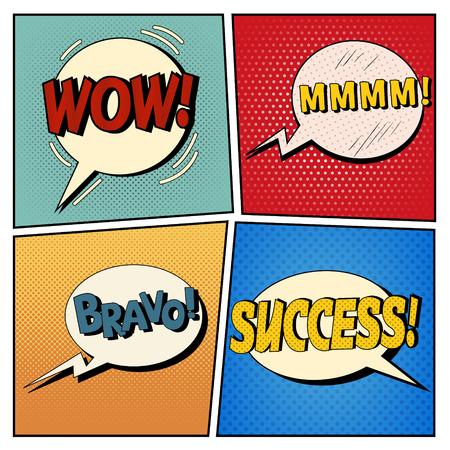 portadas de libros: Burbujas Conjunto cómico. Expresiones Wow, Mmmm, Bravo, Éxito. Fondo de semitono. Arte pop. ilustración vectorial