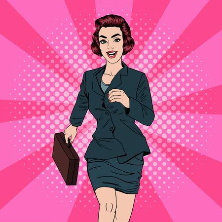 Geschäftsfrau. Glückliche Frau. Frau mit Koffer. Pop-Art-Fahne. Erfolgreiche Frau. Erfolg im Geschäft. Vektor-Illustration